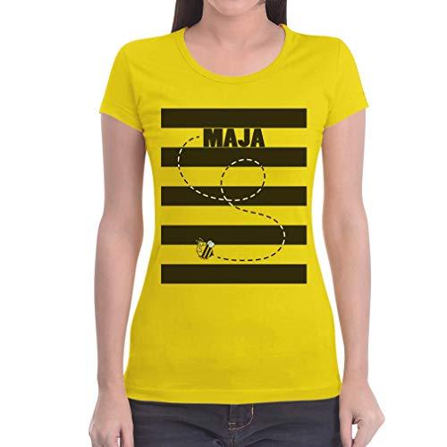 Karneval & Fasching - Bienen Kostüm Maja Damen T-Shirt Slim Fit XX-Large Gelb