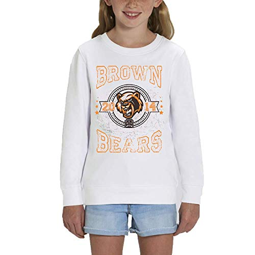 LookMyKase Sweat - Manche Longue - Col Rond - Brown Bears - Fille - Blanc - 9-11ans