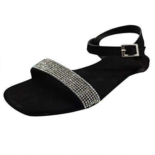 NHNX Schnallensandalen Sexy Frauen Sandaletten Flache Schuhe Sommer Schuhe Frau Mode Rom Plattform Blockabsatz Flach Peeptoe Sandalen Freizeit Slippers Damen