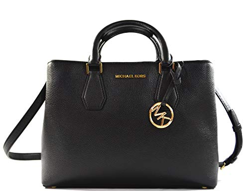 Michael Kors Camille Leather Large Satchel Convertible Crossbody Bag Purse Handbag (Black)