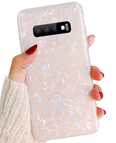 Jwest Galaxy S10 Case, Luxury Sparkle Translucent Clear Shiny Pearly-Lustre Pattern Print Soft Silicone Cover Slim TPU Sturdy Protective Back Phone Case for Samsung Galaxy S10 Colorful