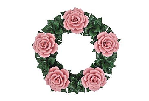 Blumenkranz - Blumendekoration - Keramik Kranz - Gartendeko - Wanddeko - Tischdeko - Grabschmuck - Grabdekoration - Trauerkranz - Deko Urnengrab - Ø 30 cm - Wetterfest