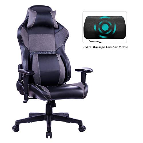 HEALGEN Gaming Office Chair with Large Lumbar Support,Reclining High Back Ergonomic Memory Foam Desk Chair,Racing Style PC Computer Executive Leather Chair with Headrest GM8260 (Grey) chair gaming