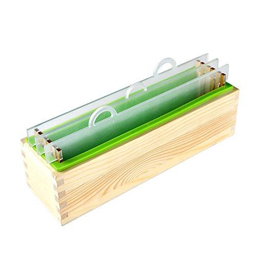 Nicole Silikon Seifenform Rechteck handgefertigte Laibform mit Holzbox und transparenter vertikaler Acrylschindel