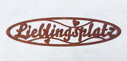 """Schild """"Lieblingsplatz"""" in Edelrost 10cm x 50cm"""