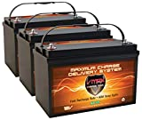 Qty 3: VMAX SLR125 AGM Battery 12V 125Ah Deep Cycle Solar Battery Compatible with Solar Backup Off-Grid RV 12 Volt or 36 Volt Battery Banks