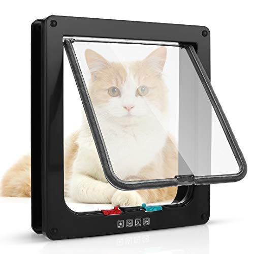 Sailnovo Katzenklappe XL Hundeklappe 4 Wege Magnet-Verschluss für Katzen, Klein Hunde, 24,5 * 28,5 * 5.5cm Hundetür Katzentür XL Haustierklappe, Installieren Leicht mit Teleskoprahmen