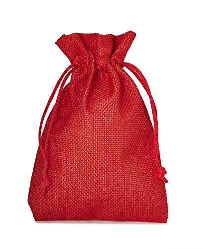 10 Sacchetti di stoffa in stile iuta, misura 30x20 cm, sacchetti regalo, sacchetti per calendario dell' avvento (rosso)