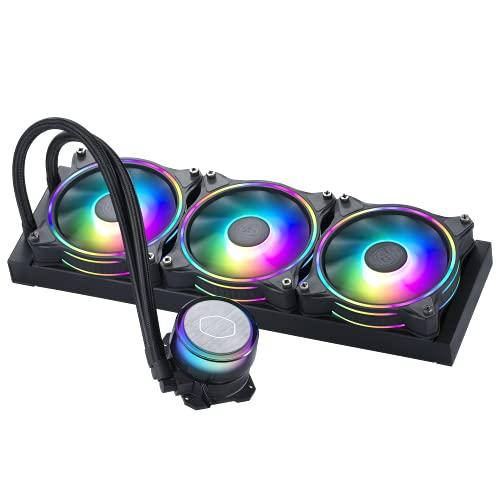 Cooler Master MasterLiquid ML360 Illusion Close-Loop AIO CPU Liquid Cooler, Translucent Dome, 3rd Gen Dual Chamber Pump, 240 Radiator, Dual MF120 Halo for AMD Ryzen/Intel 1200/1151
