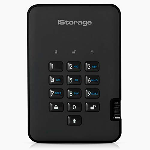 iStorage diskAshur2 HDD 1TB Black - Secure portable hard drive - Password protected, dust and water resistant, portable, military grade hardware encryption USB 3.1 IS-DA2-256-1000-B
