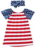 KIDDAD Toddler Baby Girls American Flag Stars Stripes Print Shirt Dresses+USA Flag Headband Summer Outfit Set Size 18-24 Months/Tag100 (Red)