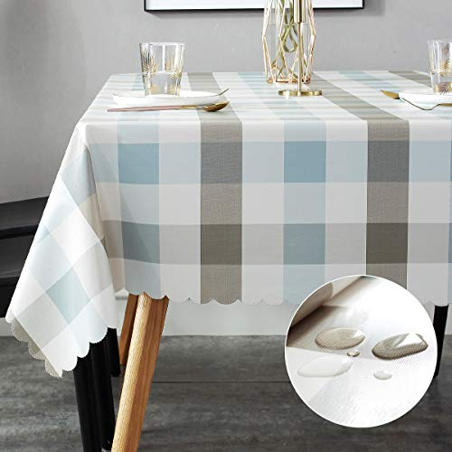 LOHASCASA Vinyl Oilcloth Tablecloth Rectangle Wipeable Peva Waterproof PVC Heavy Duty Stainproof Spillproof Large Tablecloth Farm Thanksgiving Banquet BBQ - Blue Grey Tan Plaid 9 ft 54 x 108 Inch