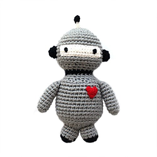 Cheengoo Sustainable Organic Bamboo Hand Crocheted Rattle - Robot