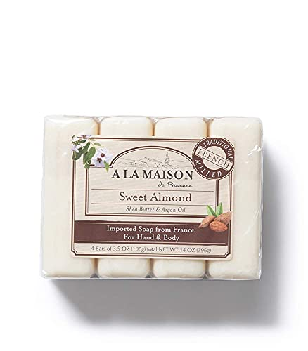A La Maison de Provence Bar Soap   Sweet Almond Scent   French Milled Moisturizing Natural Hand and Body Soap   3.5 Oz each (4 Bars Total)