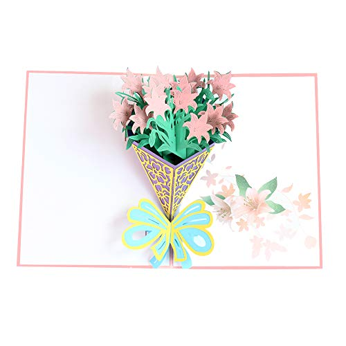 3D Pop up Flower Bouquet Greeting Card,Birthday Card,Thank You Card,Appreciation Card,Mother's Day Father's Day Gifts Card,Anniversary Card,Christmas Cards