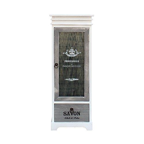 Rebecca Mobili Vaisselier Shabby, Armoire 1 Tiroir 1 Porte, Bois, Blanc Gris, Decor Maison Entree Salon – Dimensions: 88 x 32 x 26 cm (HxLxL) - Art. RE6093