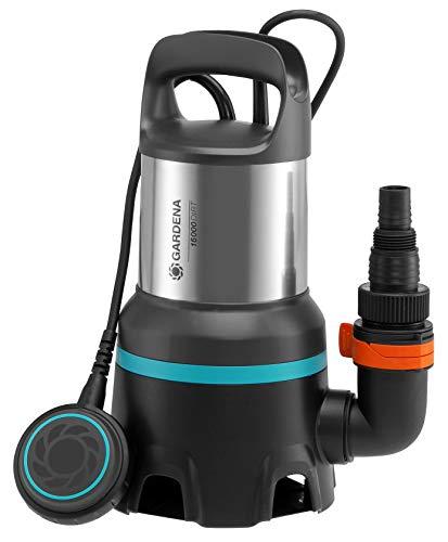 Bomba sum. aguas residuales 16000 GARDENA: bomba sum.caudal 16000l/h, función auto., interruptor flotación fun. continuo, sis. acoplam.rápido, 450W (9042-20)