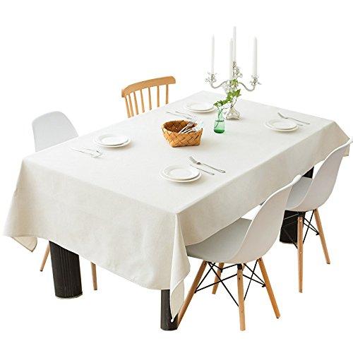 Uus Blanc Nappe en lin naturel de l'environnement Coupon de Tissu Housse de table simple Mode Nappe, blanc, 140*200cm