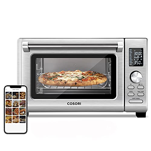 COSORI CS125-AO Air Fryer Toaster Oven Combo 11-in-1 Countertop Dehydrator for Chicken, Pizza and Cookies, 30 Recipes & 4 Accessories Included, Work with Alexa, 25L, WIFI-Silver