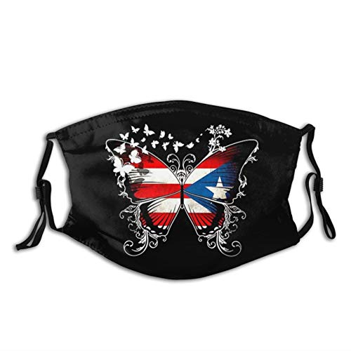 Puerto Rico Flag Face Mask Washable Cloth Balaclavas with Filters for Adult