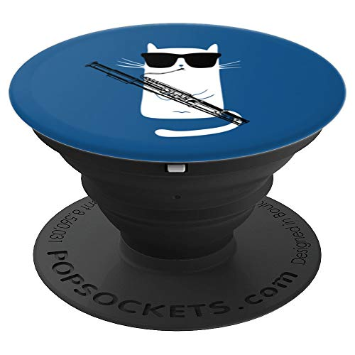 Funny Cat Wearing Sunglasses Playing Bassoon PopSockets Grip and Stand for Phones and Tablets