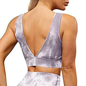 VETIOR Womens Special Tye Dye Cute Workout Crop Top Summer Padded Sports Bra for Teen Girls Purple,L
