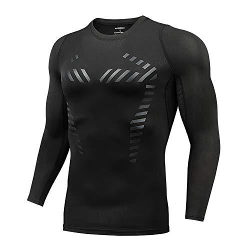 AMZSPORT Camisa de Compresión para HombreCamiseta Deportiva de Manga Larga Entrenamiento Running Top, Negro L
