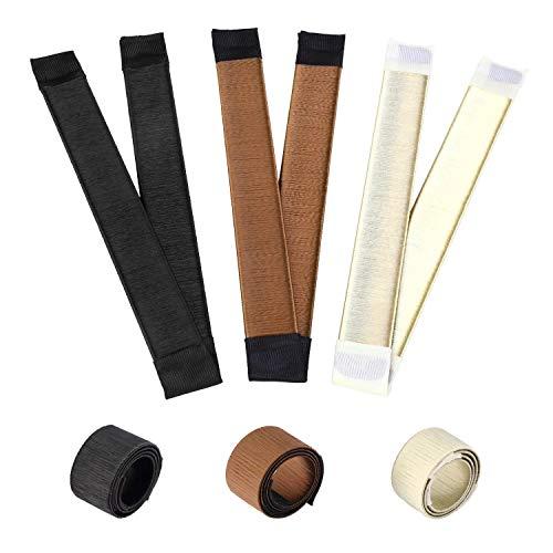 3 Pack Fashion coiffure Donut Hair Bun Maker pour les cheveux longs et épais, Outil DIY Chignon,Chignon de cheveux,Chignon magique Chignon, French Twist (Beige,Brown,Black)