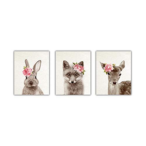 ZMFBHFBH Cuadros de Animales Impresiones y Carteles de Arte de ParedFlores Fox Fawn Conejo Cuadro de Arte de Pared Woodland Kids Baby Room Decor 70x90cmx3pcs Sin Marco