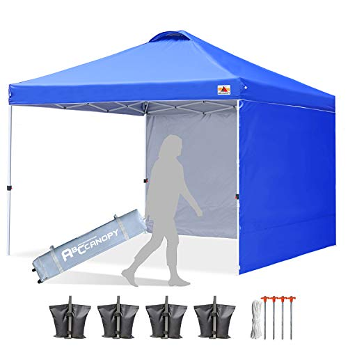 ABCCANOPY Canopy Tent 8x8 Pop Up Canopy Outdoor Canopies with Sun Wall Tent Popup Beach Canopy Shade Canopy Tent with Wheeled Carry Bag Bonus 4xWeight Bags,4xRopes&4xStakes,Royal Blue