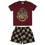 HARRY POTTER Camiseta y Pantalones Cortos para Niños, Pijama de 2 Piezas, Algodón, Conjunto de Verano, Diseño Hogwarts, Regalo Niños, Talla 8 Años