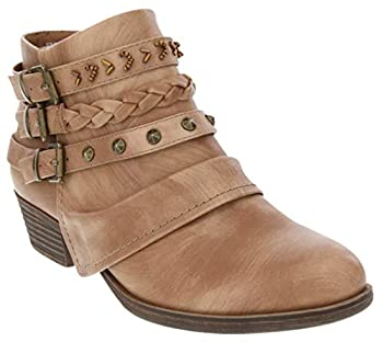 Rampage Women s Tabitha Triple Buckle Ankle Boot Ladies Side Zipper Bootie With Woven Wraparounds Studs and Overlay Tan 8.5