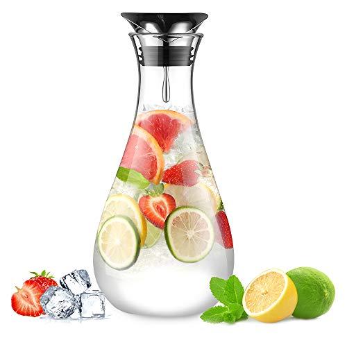 glastal 1.8L Glaskaraffe Glaskrug aus Borosilikatglas Wasserkrug Wasserkaraffe Glas mit Edelstahl Deckel Karaffe Glaskanne