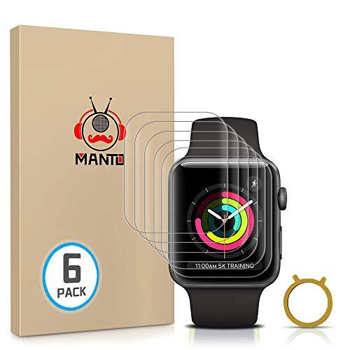 Manto 6 Stücke TPU Schutzfolie Kompatibel mit Apple Watch Series 3/2/1 38mm Anti-Bläschen Wasserdicht HD klar Flexible Bildschirmschutzfolie für iWatch 1/2/3 38mm