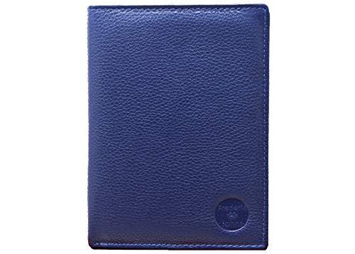 Frédéric & Johns® - Portafoglio in vera pelle di vacchetta molto pratica -Portadocumenti da viaggio in pelle porta passaporto - 22 scomparti per carte - uomo o donna (Blu)