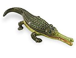 """The Gharial"" Critically Endangered Species Crocodile Handmade Jeweled Metal"