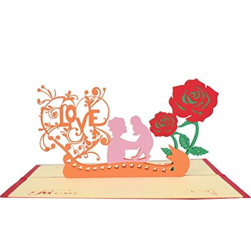VALICLUD Chic 1pc 3D-Grußkarten Liebesbriefe Handgemachte Wunschkarte Hollow Papercraft für Muttertag