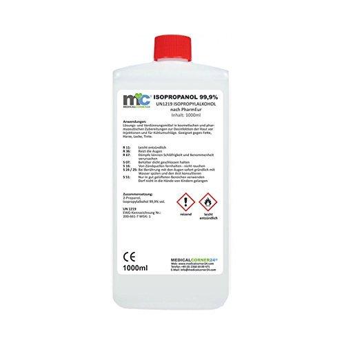 Medicalcorner24® Isopropanol 99,9{21bbf2068b48185d99f8f3a0fc429fe28b2902774a383a34a96576c1992a751e} 1000ml Isopropylalkohol 1 Liter Cleaner, Reiniger