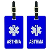 Graphics & More Asthma-Medical Emergency-Star of Life Luggage Tags Suitcase Id, White, One Size