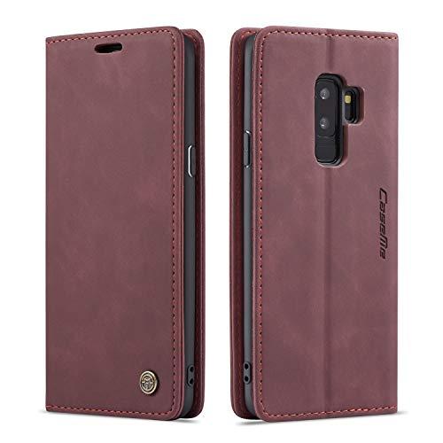 mvced Funda para Samsung Galaxy S9 Plus,Funda Móvil Funda Libro con Tapa Magnética Carcasa,Vino Rojo