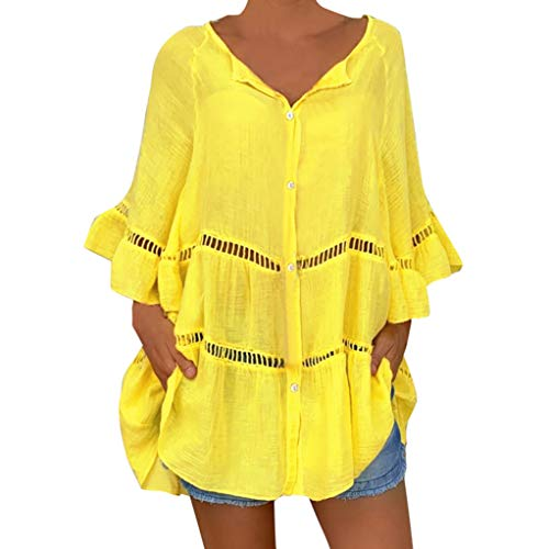 QinMMROPA Blusa Hueca de algodón y Lino para Mujer Camiseta Botones con Cuello en V y Tallas Grandes Camisa Suelta Casual Amarillo XXXL
