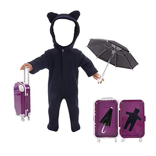 Jbsceen 43cm Doll Clothes Set Jumpsuit / Suitcase / Umbrella for 18Inch Girl Dolls (Doll Not Include) (Black)