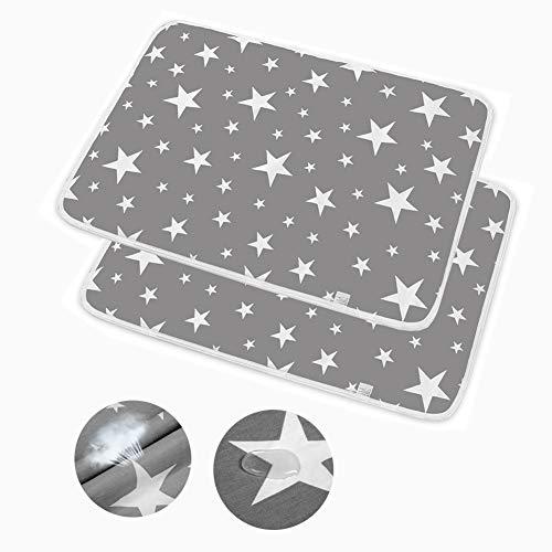 2pcs Wasserdicht Wickelunterlage für Babys und Kleinkinder, Waschbar Inkontinenzauflage Wiederverwendbare Urin Matte Abdeckung, Atmungsaktiv, fürs fürs Jungen Mädchen (50x70cm)