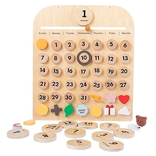 freneci Escritorio de Madera Calendario Fecha Días Clima Montessori Aprendizaje Activo Tiempo Familiar para niños Juguetes educativos preescolares