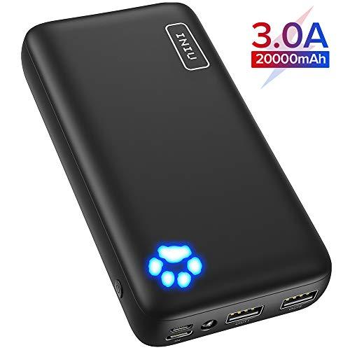 INIU Powerbank, 20000mAh Power Bank, Dual 3A High-Speed Ausgänge Tragbar Externer Akku, mit Type C & Micro USB Eingängen, Akkupack für iPhone 11 X Pro 8 Samsung Galaxy S10 Note 10 iPad Huawei etc.