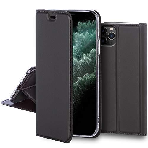 Moozy Funda con Tapa para iPhone 11 Pro MAX, Gris Acero – Elegante Tacto Sedoso Flip Cover Magnético Clásico con Soporte y Tarjetero