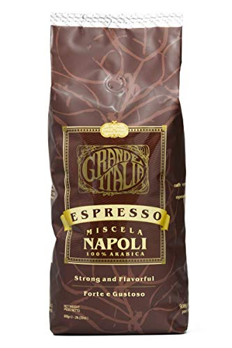 Grande Italia Whole Bean Espresso, Miscela Napoli Bean, 100% Arabica Small Batch Artisan Roasted 2lbs