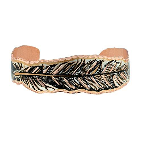 Pulsera de plumas estrechas y anchas de cobre ondulado hecha a mano, diseño de plumas de estilo nativo americano, ajustable, para mujeres y hombres y niñas