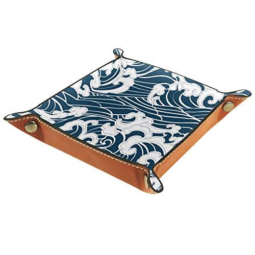 YATELI Caja de Almacenamiento pequeña, Bandeja de Valet para Hombre,Estilo Tradicional de Onda Japonesa,Organizador de Cuero para Llaves de Caja de Monedas