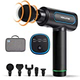 Massage Gun, HOSLAFON Deep Tissue Massage Gun with 6 Speeds & 5 Heads, Super Quiet Percussion Massager Sports Drill, Handheld Electric Body Massager for Relieving Muscle Pain, Soreness, and Stiffness